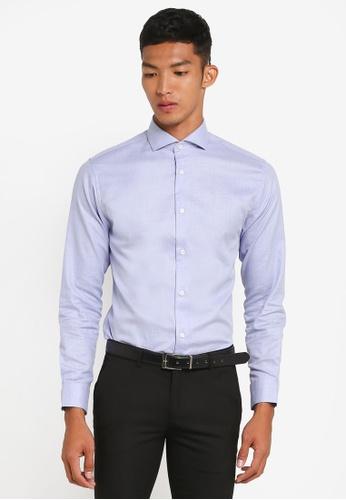 Selected Homme 藍色 修身長袖襯衫 3A9E4AA2774ACFGS_1