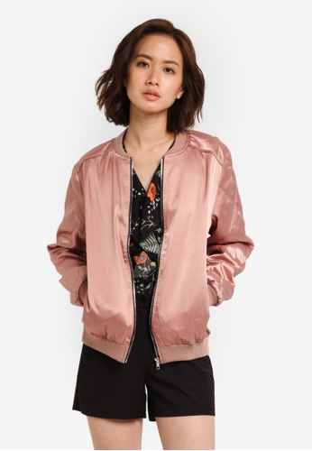 ZALORA pink Quilted Sleeves Bomber Jacket FC1AAZZ3274A54GS_1