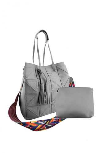 OOTD grey 2 in 1 Aztec Strap with Tassel Leather Sling Bag      OO654AC0ITWZPH_1