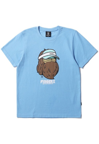 Fingercroxx blue Bigfoot print tee B0A30AAEF5FBF7GS_1