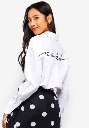 NA-KD 白色 Oversized LOGO刺繡襯衫 250A4AAD455C8CGS_1