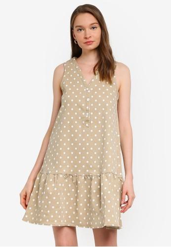 Compania Fantastica beige Polka Dot Sleeveless Dress D3BADAACB7C677GS_1