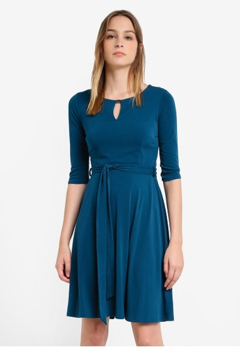 Wallis green Teal Keyhole Fit and Flare Dress WA800AA0RXANMY_1