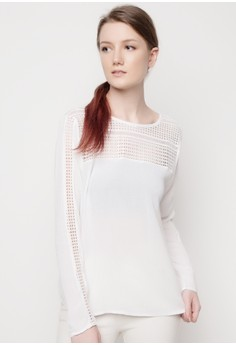 Scoop Neck Top with Lace Yoke