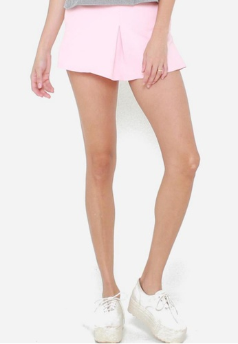 QLOTHE pink Flight : Structured Shorts 5C0EDAAD640585GS_1