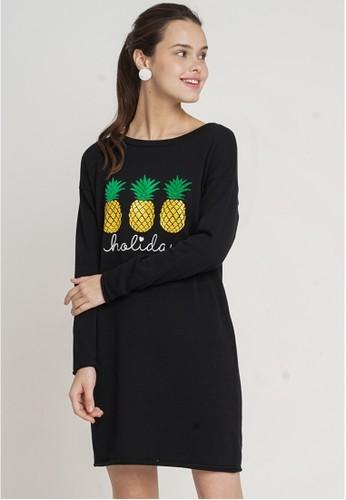 Minimal black Luize Flatknit  Dress 914D5AAFB0C6B3GS_1