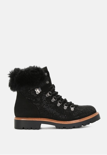 London Rag black Lace up Boots with Faux Fur Collar and Shining Studs 06CF1SH672A03BGS_1