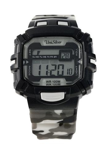 UniSilver TIME black and grey Batallion Camouflage Rubber Watch KW2029-2001 UN802AC50HIZPH_1