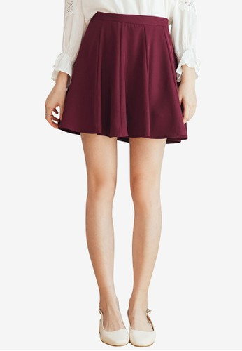 Tokichoi red Plain Skater Skirt FF4ABAA2E3AB67GS_1