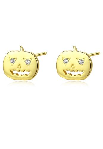 SUNRAIS gold Premium Silver S925 golden pumpkin earrings 9C47DAC5516155GS_1