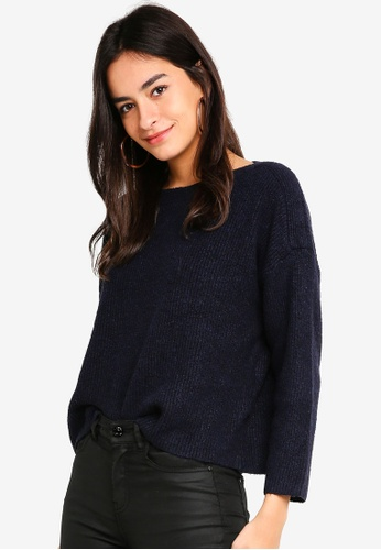 JACQUELINE DE YONG navy Mille Long Sleeve Pullover 422B6AA2AB02C3GS_1