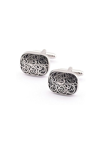 Kings Collection silver Silver and Black Rectangle Cufflinks KI358AC0GVDUSG_1
