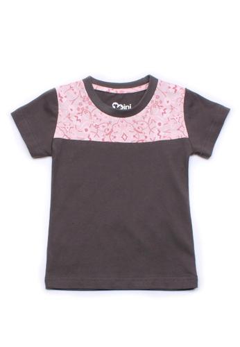 Mini Moley grey Floral Print Panel Boy's T-Shirt A7AA9KA88DC080GS_1