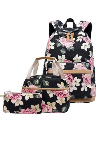 Twenty Eight Shoes black VANSA Floral Printed Canvas Backpacks VBW-Bp10031 F7292AC928C0B4GS_1
