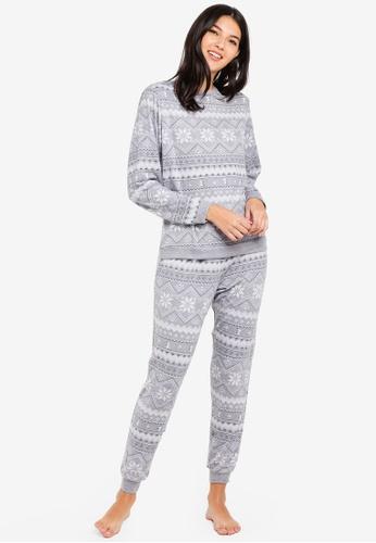 Dorothy Perkins grey Grey Fairisle Twosie Pyjamas 03CAFAA7DAF857GS_1