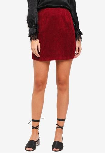 Something Borrowed red Corduroy A-Line Mini Skirt 3B80CAA695EB5CGS_1