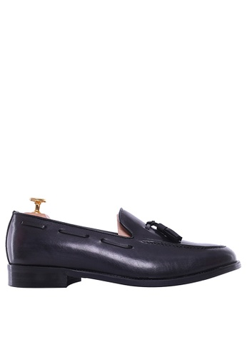 Zeve Shoes black Zeve Shoes Tassel Loafer - Black Grey (Hand Painted Patina) 33295SHD2CB081GS_1