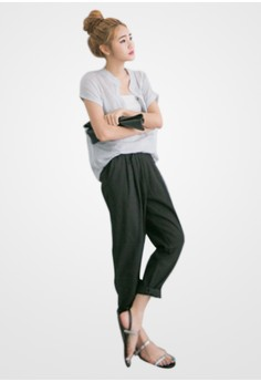Casual Take Pleated Cotton Trousers