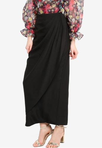 Lubna black Side Gathered Overlap Skirt 36BCAAA560D75CGS_1