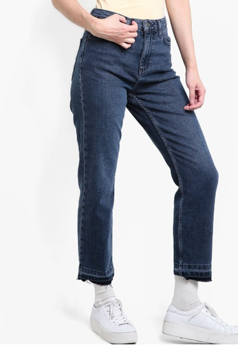 TOPSHOP blue MOTO Midnight Let Hem Straight Leg Jeans TO412AA30DBTMY_1