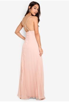 257b42ad14078 MISSGUIDED beige Strappy Pleated Maxi Dress 8FCECAA3073254GS_1