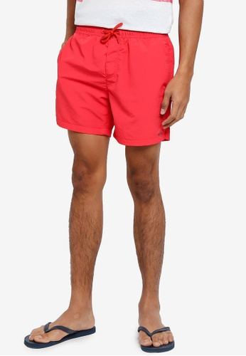 !Solid red Hector Nylon Shorts 398A3AA3B648D2GS_1