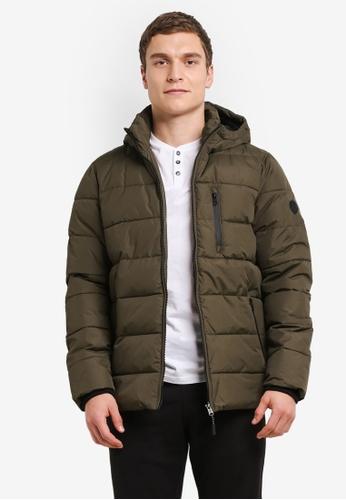 Burton Menswear London green Khaki Matrix Puffer Jacket BU964AA0SHNXMY_1