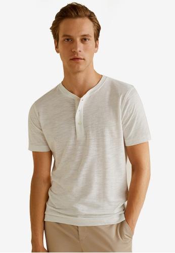 MANGO Man white Flecked Henley T-Shirt F28B7AA197892BGS_1