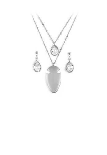 Glamorousky white Fashion and Simple Geometric Water Drop-shaped Cubic Zirconia 316L Stainless Steel Necklace and Earrings Set F724AAC70763C0GS_1