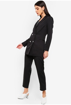 91976d6d470 35% OFF ZALORA Double Breasted Long Line Blazer RM 135.00 NOW RM 87.90  Sizes XS S M L XL