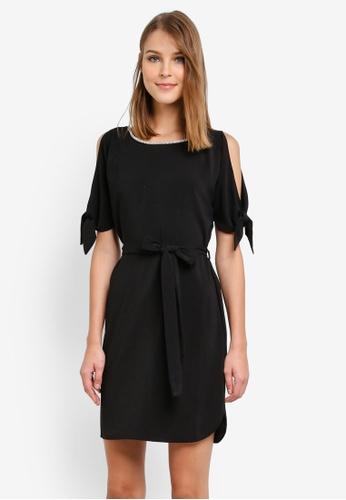Dorothy Perkins black Embellished Tie Shift Dress DO816AA0SD4HMY_1