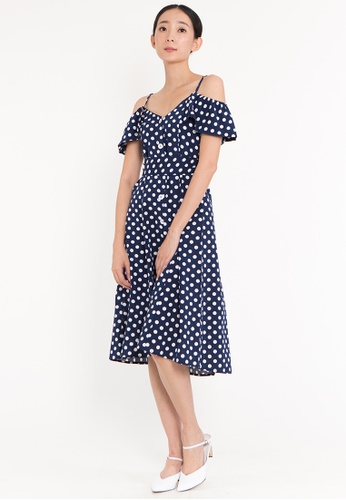 Plain B. blue Plain B. Striped Open Shoulder Button Midi Casual Dinner Dress EE265AA393C42EGS_1