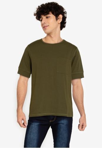 ZALORA BASICS green Expose Stitch T-Shirt A2582AAC934595GS_1