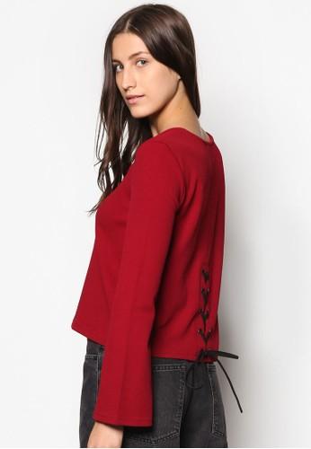 Collection 羅紋繫帶長袖衫、 服飾、 T-shirtZALORACollection羅紋繫帶長袖衫最新折價