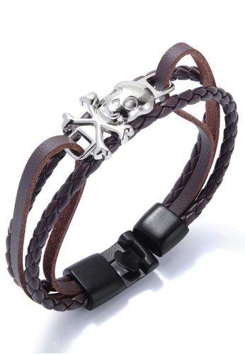 Trendyshop brown Men's Skull Bracelet A327DACC49AB16GS_1