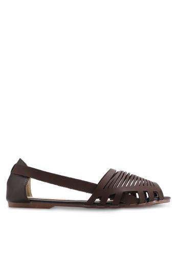 kiki brown Burnished Faux Leather Flats KI061SH69SGKMY_1