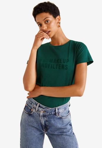 Mango green Organic Cotton Message T-Shirt 90613AA33D6C2FGS_1