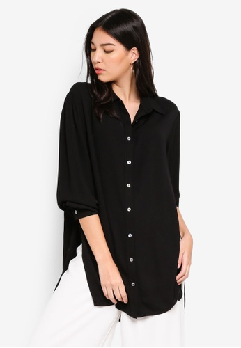 ZALORA black Oversize Shirt with Puff Sleeves 6F8EAAAEF9CC2DGS_1