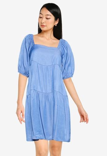ZALORA BASICS blue Square Neck Chambray Dress 8A5DBAA5E31764GS_1