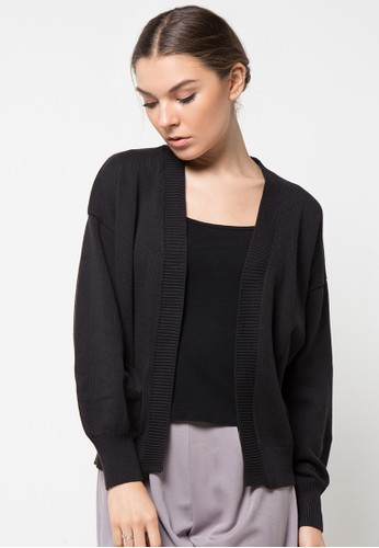 Noir Sur Blanc black Ladies Cardigan Long Sleeve NO321AA04JGHID_1