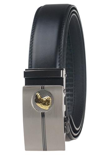 FANYU black Leather Dress Belt With Automatic Buckle FA549AC0GYI9SG_1