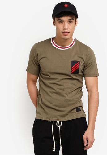 Flesh IMP 綠色 Patched Badges Long Oversized T-Shirt FL064AA74WZHMY_1