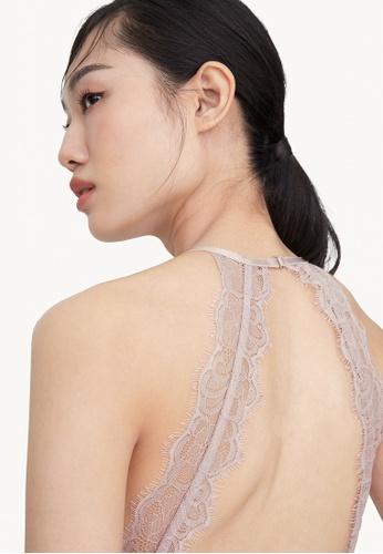 Pomelo pink V Neck lace Open Back Bodysuit - Pink 4E089AA3CF1B79GS_1