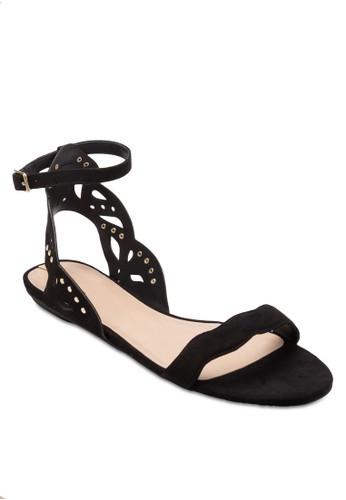 Lillywhite aldo台灣專櫃雕花踝帶平底涼鞋, 女鞋, 涼鞋