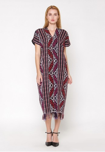 Batik Etniq Craft Dress V Neck Tenun Rumbai PU