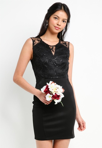 ZALORA black Bridesmaid Lace Overlay Pencil Dress 09AC4AA6B82AE2GS_1