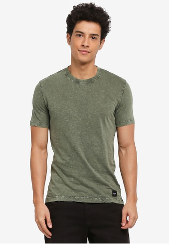 Only & Sons green Alvin Slub Acid Slim Tee 9F620AAF582D45GS_1