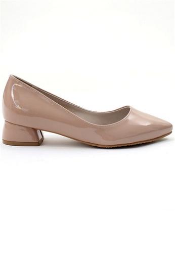 Crystal Korea Fashion 粉紅色 韓國製簡約百搭尖頭粗跟鞋 1D188SH978FB44GS_1