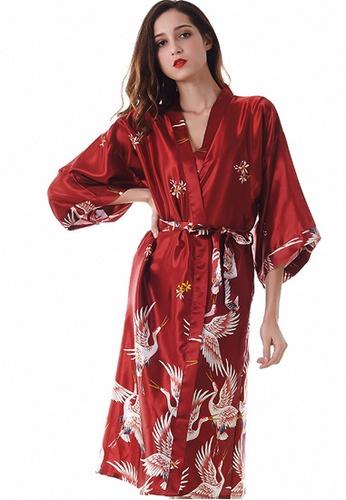 LYCKA 紅色 LCB8007-女士一件式居家休閒睡袍-紅色 8CAADAAB6369D0GS_1