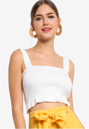 Tula Cruz white Shirred Square Neck Crop Top 99B4AAAB279036GS_1